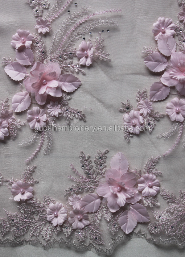 2016 bridal 3D lace fabric with flower and beading for european market