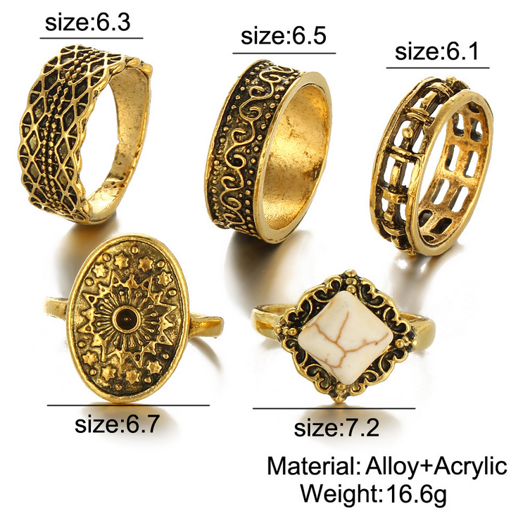 Fashion Gold Ring Set In Zinc Alloy Jewelry Wholesale