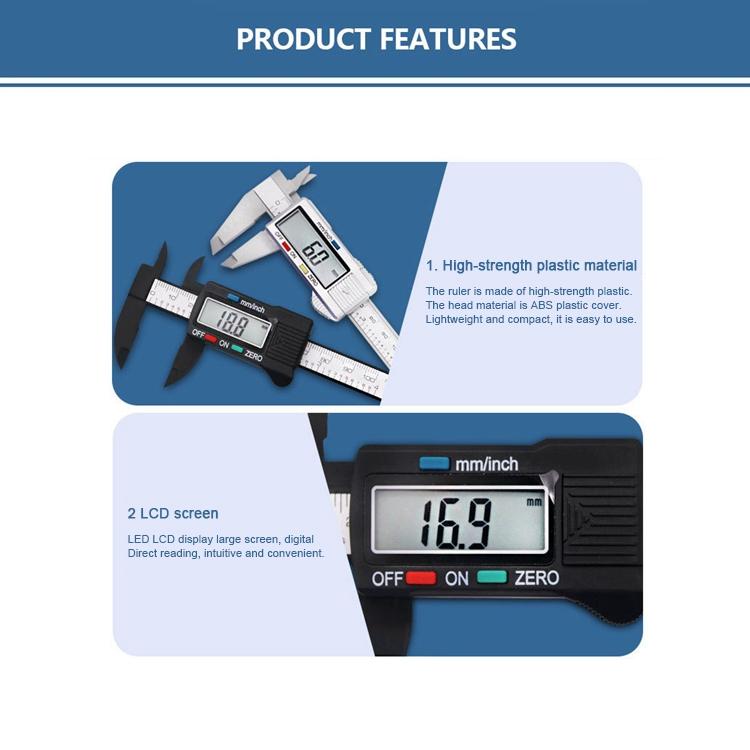 Digital LCD Plastic Electronic Gauge Vernier Caliper 100mm//4inch Micrometer CQQ