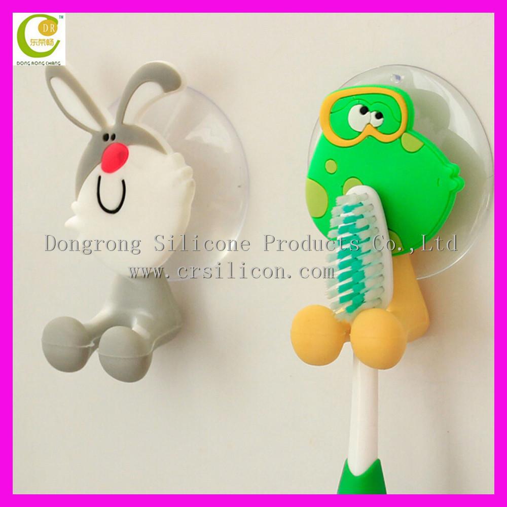 antibatterico morbido silicone copertura della tazza spazzolino di aspirazione del supporto con ventosa bagno set accessori