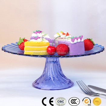 Wholesale Blue Petals Glass Cake Stand For Tableware Big Cake Glass
