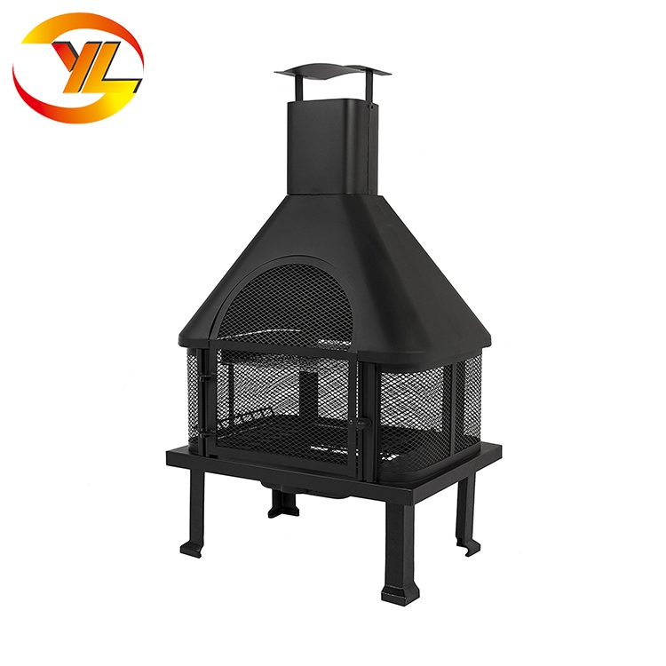 Wood Burning House Shaped Fire Place Outdoor Garden Pit With Chimney Old Country