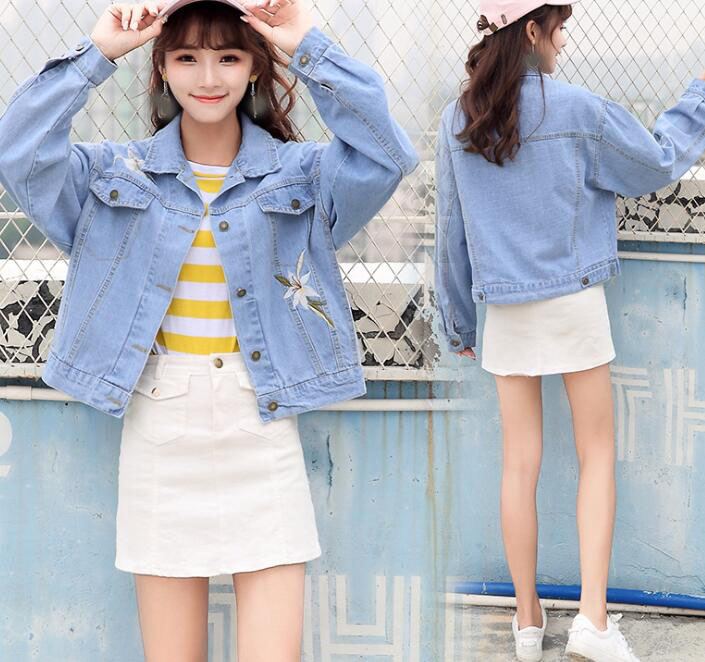 zm35754a girls short coat model new style casual denim jacket for autumn