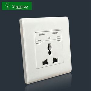 PC/ STAINLESS STEEL UK socket flexible wire wall switch socket outlet with usb port