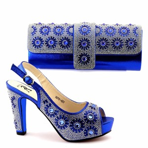 FAST SHIPPING!Royal Blue Shoe and Bag Set Decorated with Rhinestone African Women Matching Italian Shoe and Bag Set for Wedding