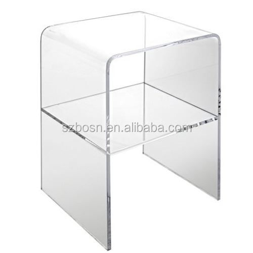 clear acrylic side table with middle shelf wholesale