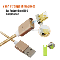 Nylon Braided USB Charger 2 in 1 Magnetic Micro USB Cable For ios 10 and android
