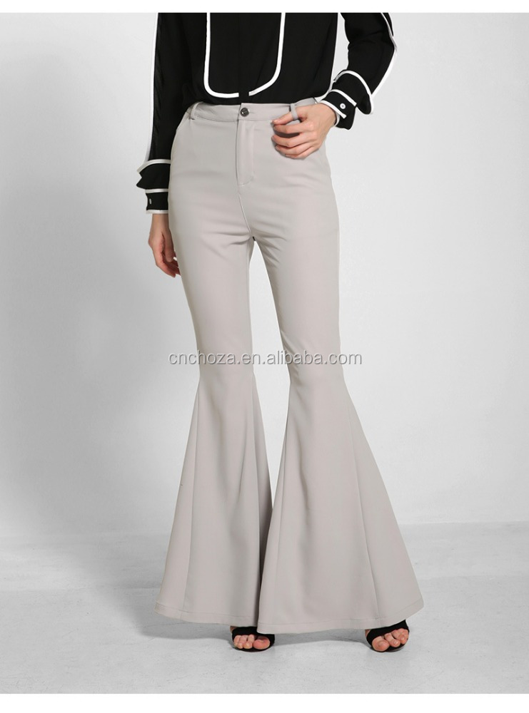 Z50583D Fashion horn fish tail pants high waist women wide legs casual pants