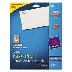 -- Easy Peel Inkjet Return Address Labels, 1/2 x 1-3/4, WE, 2000/Pack