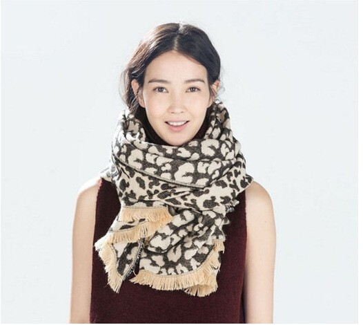 Acrylic Cashmere feel Leopard patchwork print long big scarf with tassel