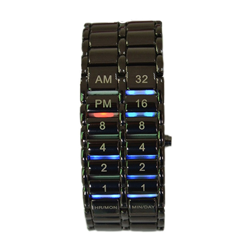 Tahan air Unisex Lava Binary LED Gelang Menonton Elektronik