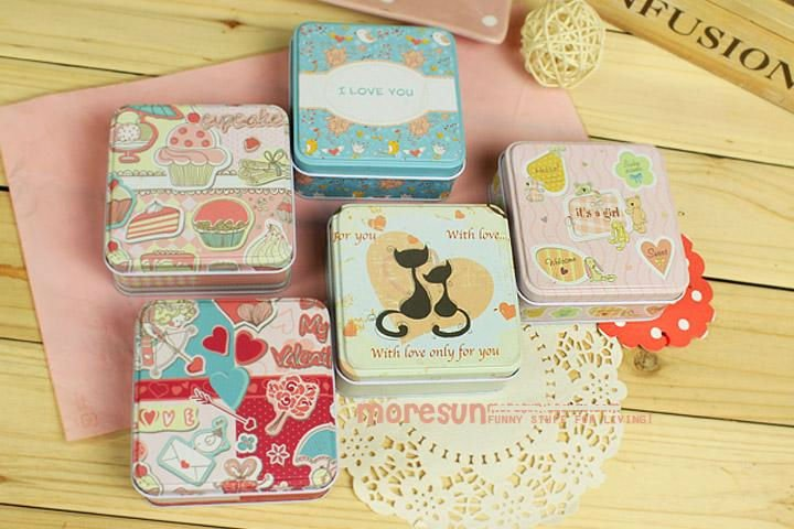 "Kids Wedding Gifts: 3.3"" Kawaii Tin Box, Candy Box, Sugar Can, Kids Bag Pouch"