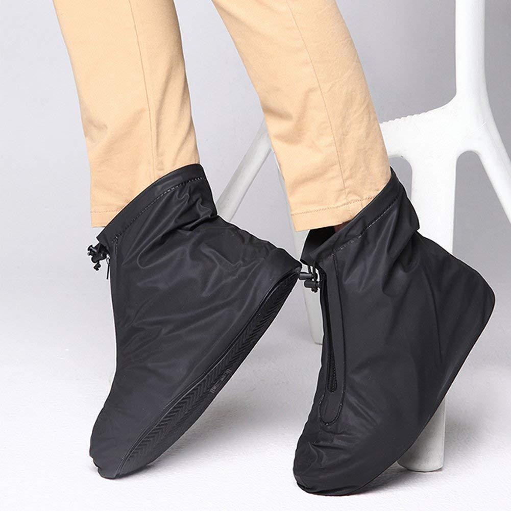 Minglitai 1 Pair of Waterproof Washable Rain Shoe Covers, Slip-resistant Reusable Boots Covers Overshoes for Men Women Ladies Teens Boys Girls (Black) (L)