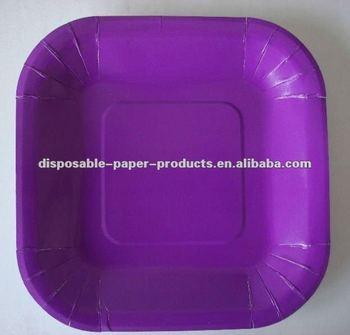 Purple Paper Tableware Solid Color Purple Square Paper Luncheon Plates & Purple Paper TablewareSolid Color Purple Square Paper Luncheon ...