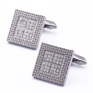 Top selling best metal square mens crystal enamel cufflinks for clothing