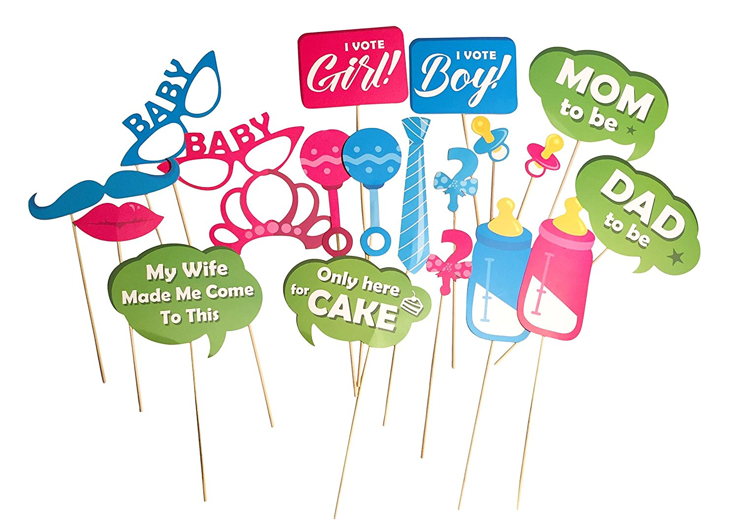 Buy Gender Reveal Party Photobooth Props 20 Piece Baby Gender