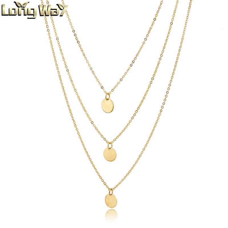 Fashion One Piece Necklaces Geometric Metal Sequins and Gold Long Thin Chain Necklace Accessories