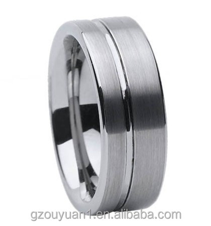 Mens Black Tungsten Carbide Wedding Rings with Black Line