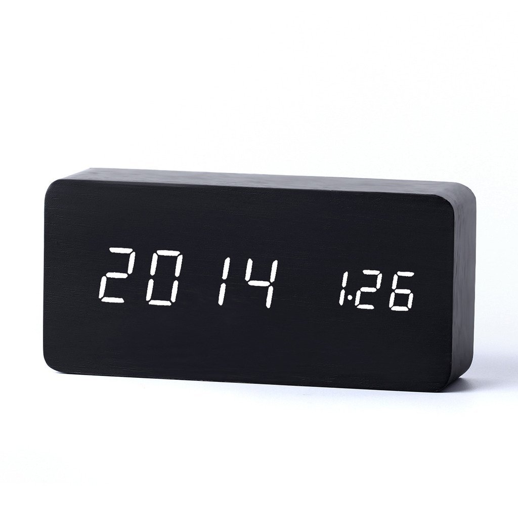 Aenmil® Fashionable Alarm Clock Wooden Decor Desk Clocks With Time/ Temperature/ Calendar Display/ Sound Control Despertador With USB Cable - Size: 15cmx7cmx4.5cm (Black Wood + White LED)