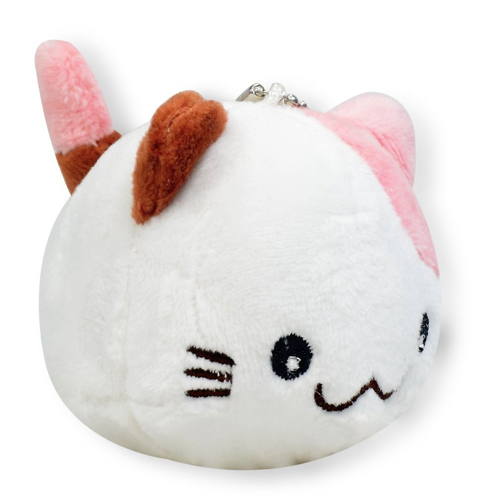 White With Pink & Brown Ear Round Kitty Cat Soft Plush Toy Stuffed Animals Keychain Cute New