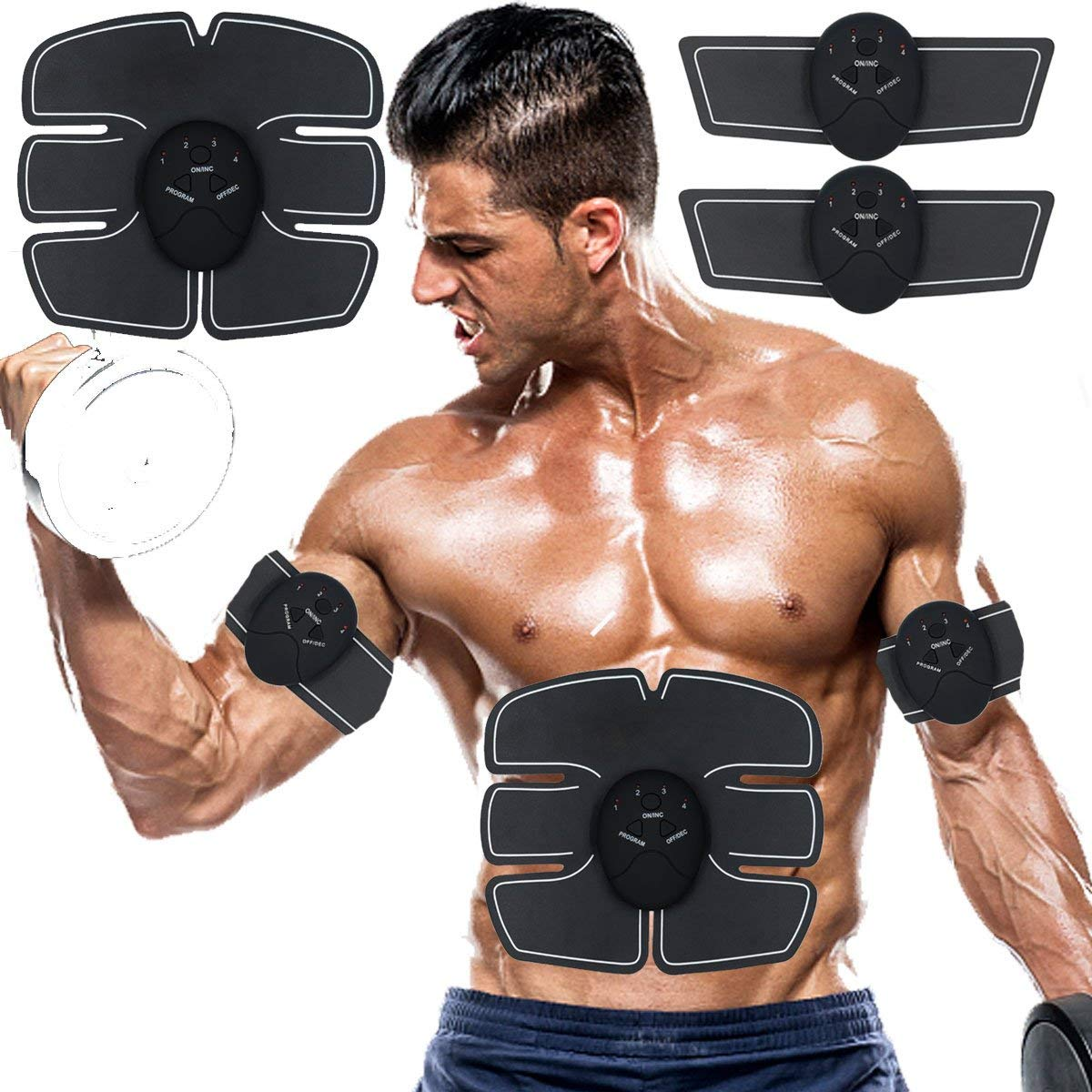 SPORTMAO Abs Stimulator Muscle Trainer Ultimate Abs Stimulator Ab Stimulator for Men Women Abdominal Work Out Ads Power Fitness Abs Muscle Training Gear ABS Workout Equipment Portable (black)