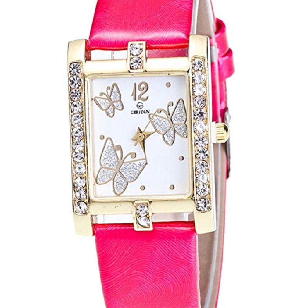 Butterfly Watches Women, Windoson Crystal Analog Lady Watches Female Watches Wrist Watches Women Rectangle Leather Watch (hot Pink)
