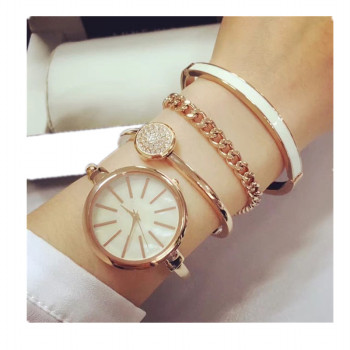 Best-selling rose gold mop face crystal lady watch set beautiful all metal bangle watch set trendy bracelet watch set women
