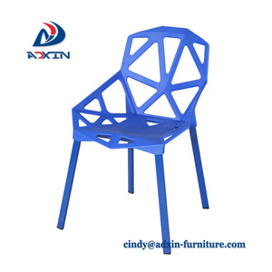 Wholesale modern geometric hollow armless plastic chairs for living room