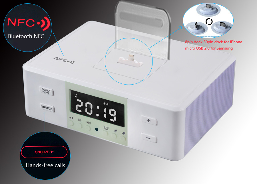 Fm Radio Alarm Clock Bluetooth Speaker Charging Docking Station ...