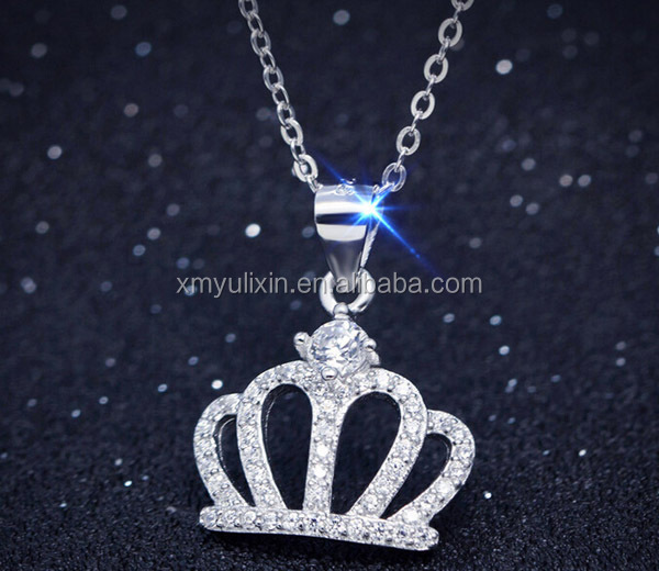 Silver & golden color crown pendant necklace