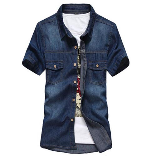 1261de5b3f Get Quotations · 2015 New Men Jeans Shirts Summer Spring Cotton Casual  Water Washing Male Tops Short Sleeve Slim Fit