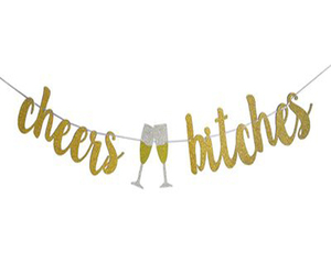 Bachelorette party supplies favor gold glitter cheers bitches banners and gold glitter round confetti decoration kit