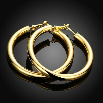 Trendy Hoop Earrings Never Fade 18k Real Gold Plated Fashion Large Size Earring Women