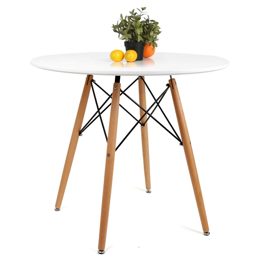 Aukronic Kitchen Dining Table Round Coffee Table Modern Leisure Wood Tea Table Office Conference Pedestal Desk - New White
