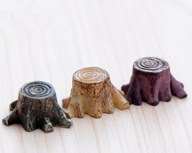 Artificial mini root stump fairy garden miniatures gnomes moss terrariums resin crafts figurines for home decoration accessories