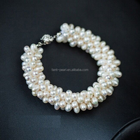 S925 Natural pearl bracelet for girls/ river pearl bracelets wholesale