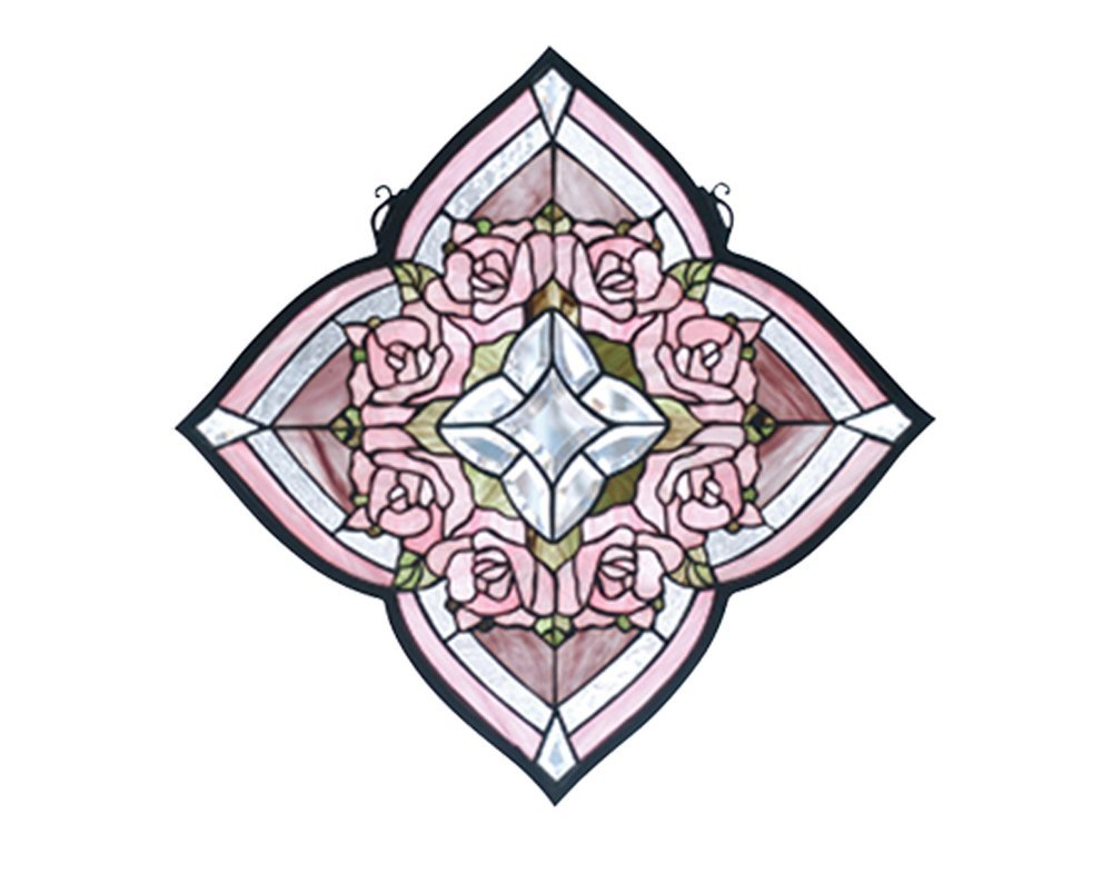 """Meyda Hand Crafted Designed Art Decorative Panel 20""""W X 20""""H Ring Of Roses Stained Glass Window"""