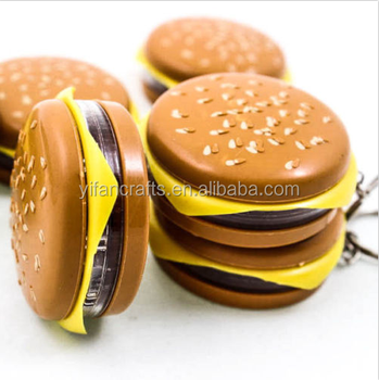 Cute Hamburger Cheese Functional Keychain Key Chain Ring