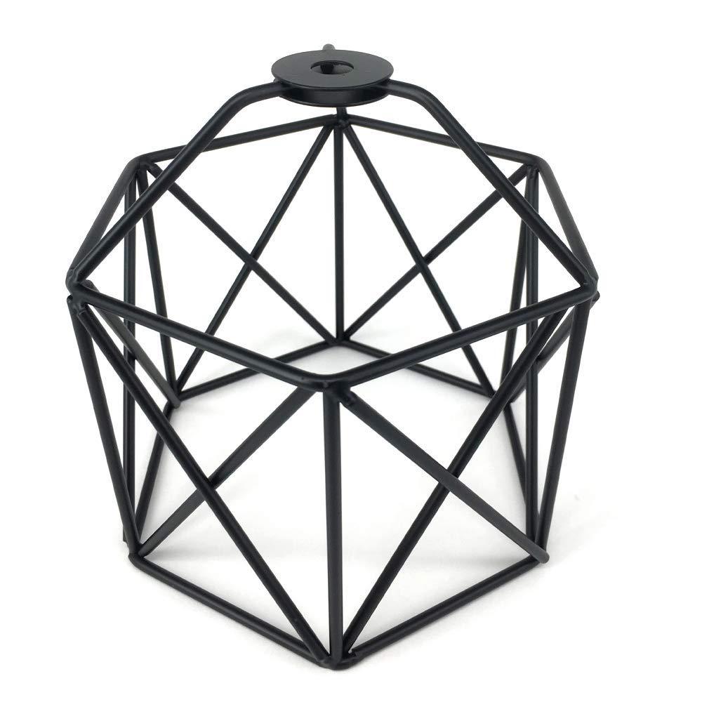 "Vintage Cage Lampshade, Motent Industrial Retro Metal Bird Cage Edison Bulb Guard, Iron Wrought 1-Light Lamp Holder, Creative DIY Lighting Fixture, 5.12"" Dia for Pendant Light Wall Lamp - Black"
