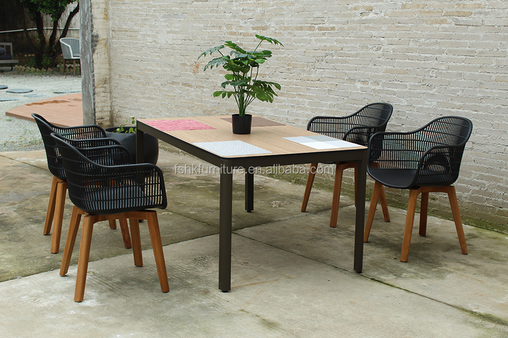 teak wood furniture chair garden dining set HPL table top