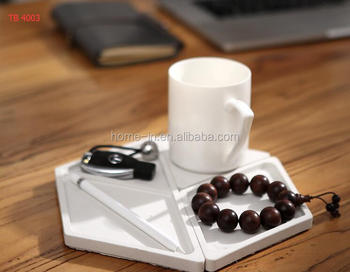 Concrete Desk Organiser Phone Stand White Tidy