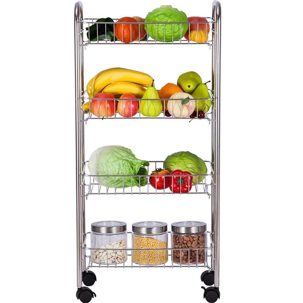 LXsnail Kitchen Shelves, 304 Stainless Steel Kitchen Racks, Floor-standing Fruit And Vegetable Basket Storage Racks, Multi-layered Wheeled Household Kitchen Bathroom Racks