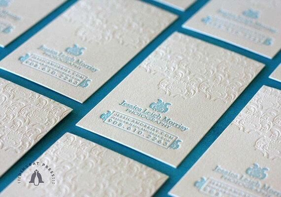 600gsm cotton paper white letterpress business cards