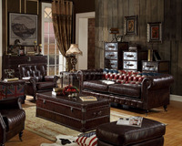 Tufted Top Grain Brown Italian Vintage Leather Sofa Set/Living Room Furniture(MOQ=1 SET)