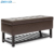 Faux leather Storage Ottoman Bench with Open Bottom Shelf for shoe rack