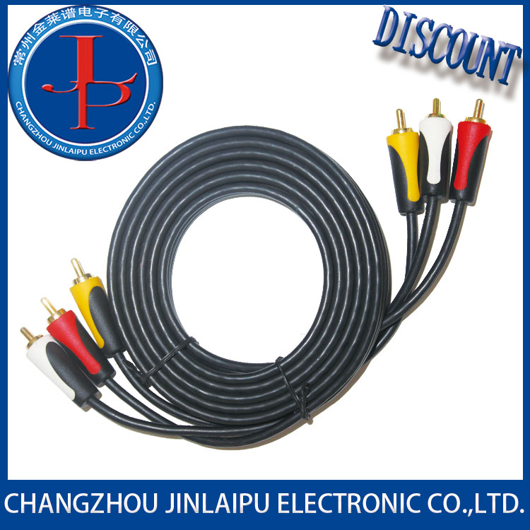 JLP spiral shielding gold plated 3 rca to cable with good price