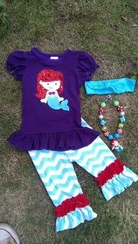 2015 new hot baby girls summer mermaid purple outfits with matching necklace and headband