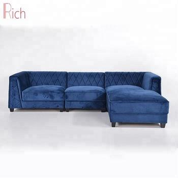Velvet Blue Corner Sectional Sofa