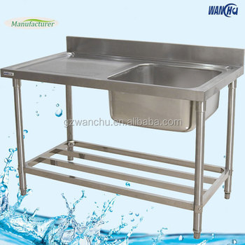 Single Bowl Kitchen Sink Bench With Drainbboard/Stainless Steel Industrial  Kitchen Sink Project For Restaurant
