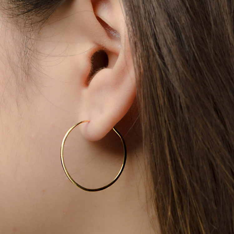 New Design 925 Sterling Silver Gold Plated 25mm Medium Hoop Earrings Filled Hammered Wire